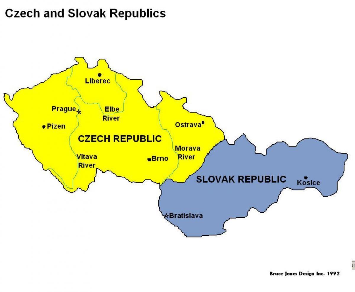 mapa slovačke Češke i slovačke mapu   Mapa češke i slovačke (Istočne Evrope  mapa slovačke